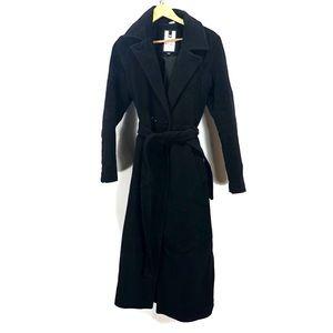 Soia & Kyo black wool long jacket with belt size m